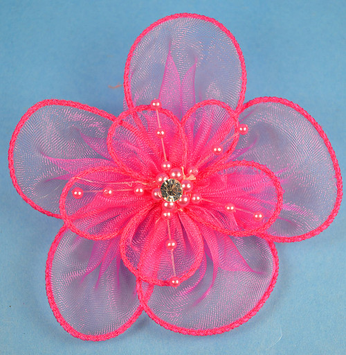 """3.5"""" Fuchsia Organza Flowers with Pearl and Rhinestone - Pack of 12"""