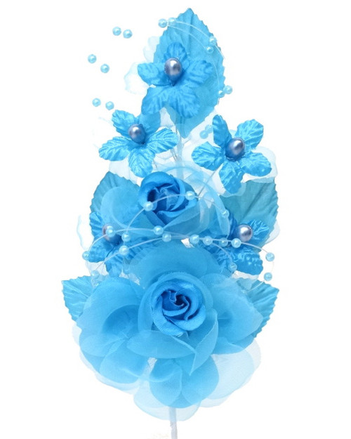 """6"""" Turquoise Silk Corsage Flowers with Pearl Spray - Pack of 12"""