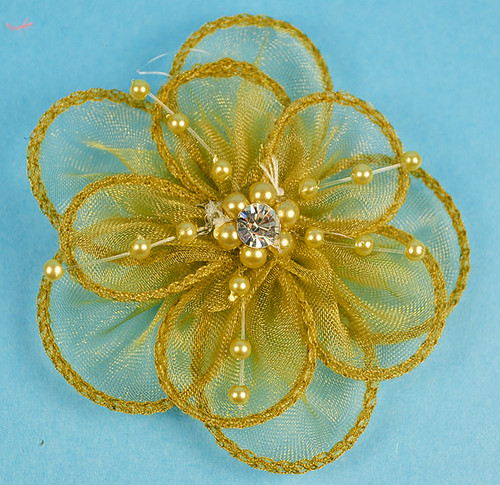 """3.5"""" Gold Organza Flowers with Pearl and Rhinestone - Pack of 12"""