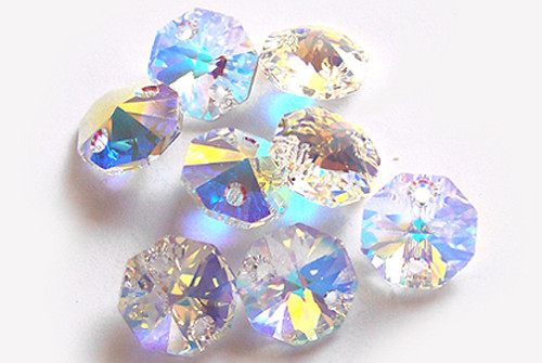 14mm Iridescent AB Clear Crystal Octagon Prism Beads - Pack of 200