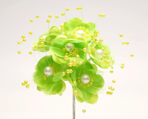 "1.5"" Apple Green Silk Flowers with Pearl - Pack of 72"