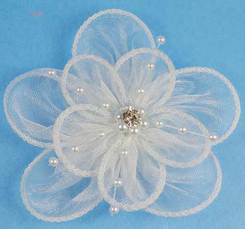 """3.5"""" White Organza Flowers with Pearl and Rhinestone - Pack of 12"""