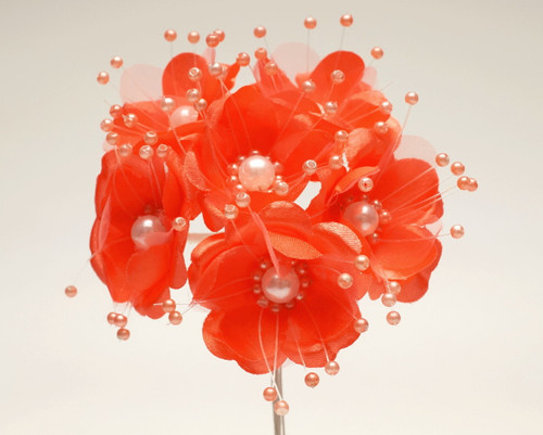 """1.5"""" Coral Silk Flowers with Pearl - Pack of 72"""