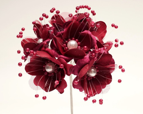 """1.5"""" Burgundy Silk Flowers with Pearl - Pack of 72"""