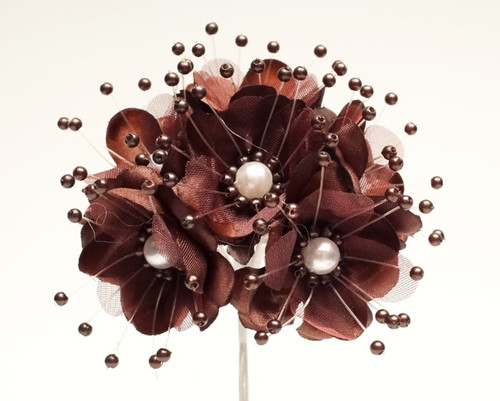 "1.5"" Brown Silk Flowers with Pearl - Pack of 72"