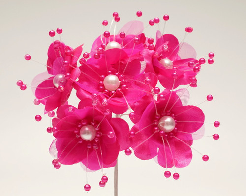 "1.5"" Fuchsia Silk Flowers with Pearl - Pack of 72"