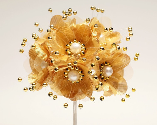 """1.5"""" Gold Silk Flowers with Pearl - Pack of 72"""