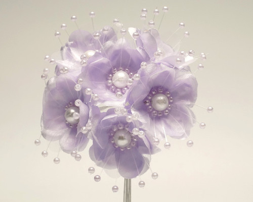 "1.5"" Lavender Silk Flowers with Pearl - Pack of 72"