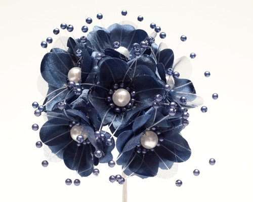 "1.5"" Navy Blue Silk Flowers with Pearl - Pack of 72"