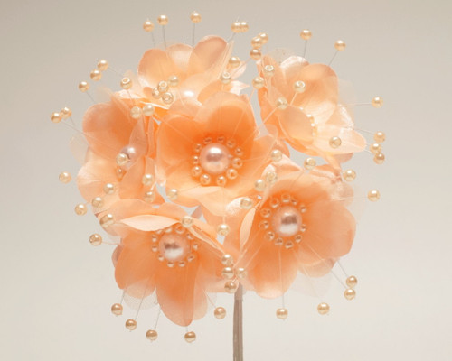 """1.5"""" Peach Silk Flowers with Pearl - Pack of 72"""