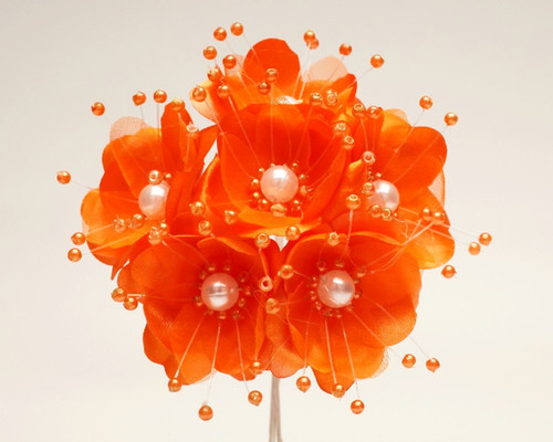 "1.5"" Orange Silk Flowers with Pearl - Pack of 72"