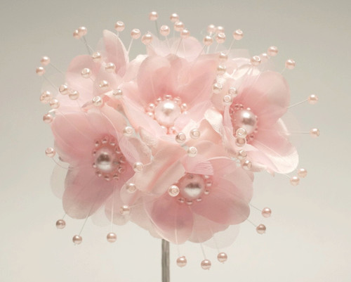 "1.5"" Pink Silk Flowers with Pearl - Pack of 72"