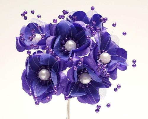 """1.5"""" Purple Silk Flowers with Pearl - Pack of 72"""