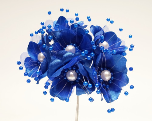 "1.5"" Royal Blue Silk Flowers with Pearl - Pack of 72"