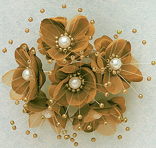 """1.5"""" Tan Silk Flowers with Pearl - Pack of 72"""
