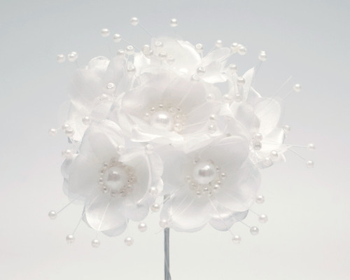 """1.5"""" White Silk Flowers with Pearl - Pack of 72"""