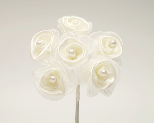 "1 1/4"" Ivory Satin Organza Flowers with Pearl - Pack of 72"