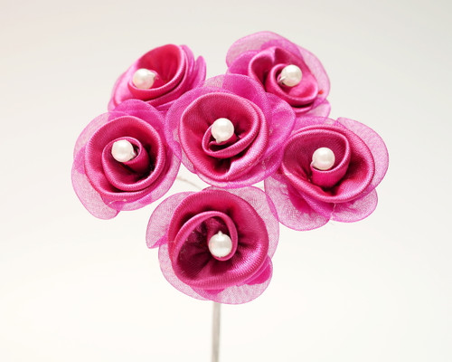 "1 1/4"" Fuchsia Satin Organza Flowers with Pearl - Pack of 72"