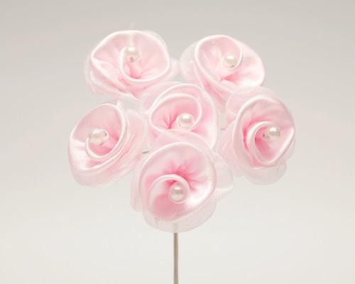 "1 1/4"" Pink Satin Organza Flowers with Pearl - Pack of 72"
