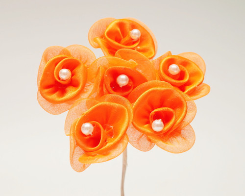 "1 1/4"" Orange Satin Organza Flowers with Pearl - Pack of 72"