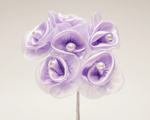"1 1/4"" Lavender Satin Organza Flowers with Pearl - Pack of 72"