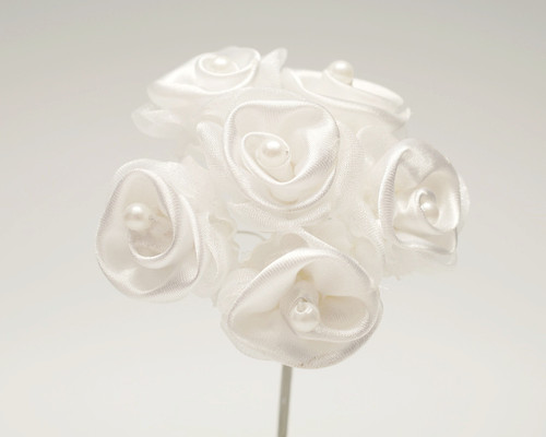 "1 1/4"" White Satin Organza Flowers with Pearl - Pack of 72"