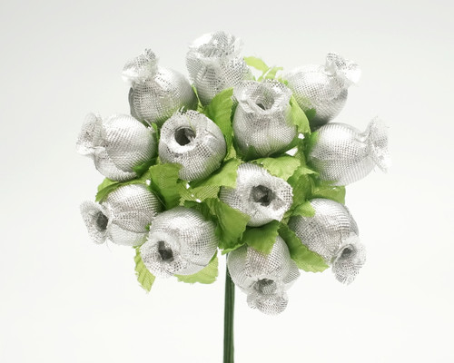 Silver Polyester Rose - Pack of 144