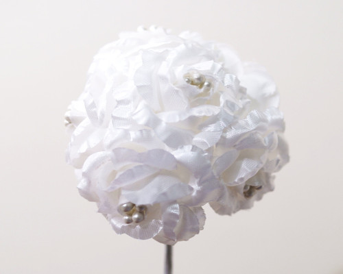 "1"" White Starched Rose Silk Flowers - Pack of 72"
