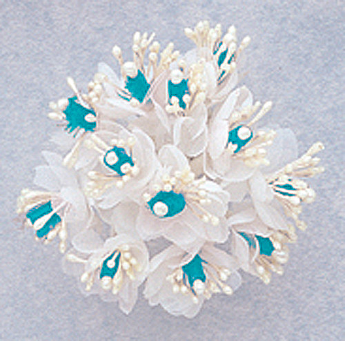 "1"" Aqua Blue Satin Ribbon Flowers with Pearl - Pack of 144"