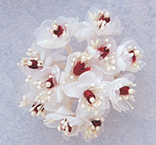 "1"" Burgundy Satin Ribbon Flowers with Pearl - Pack of 144"