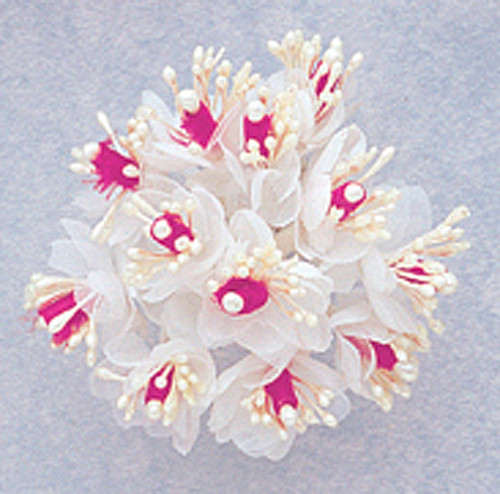 """1"""" Fuchsia Satin Ribbon Flowers with Pearl - Pack of 144"""