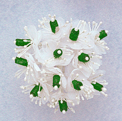 """1"""" Hunter Green Satin Ribbon Flowers with Pearl - Pack of 144"""