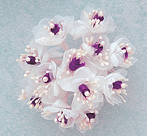 "1"" Purple Satin Ribbon Flowers with Pearl - Pack of 144"