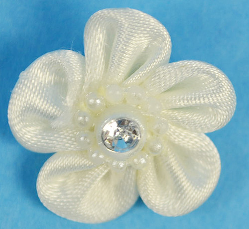 """1"""" Ivory Satin Flowers with Rhinestone - Pack of 144"""