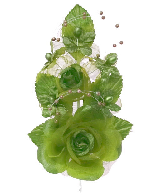 "6"" Moss Green Silk Corsage Flowers with Pearl Spray - Pack of 12"