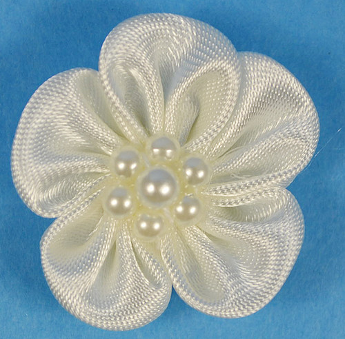 """1"""" Ivory Satin Flowers with Pearl - Pack of 144"""