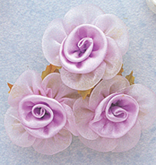 """1.5"""" Lavender Satin Organza Flowers with Leaves - Pack of 36"""