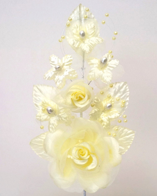 "6"" Yellow Silk Corsage Flowers with Pearl Spray - Pack of 12"