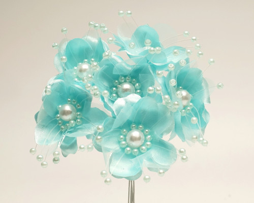 "1.5"" Aqua Blue Silk Flowers with Pearl - Pack of 72"