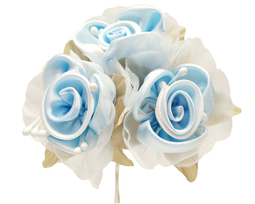 """2"""" Light Blue Satin Silk Flowers with Leaves - Pack of 36"""
