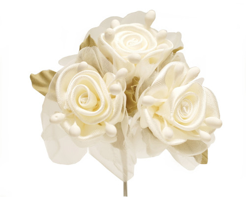 """2"""" Ivory Satin Silk Flowers with Leaves - Pack of 36"""