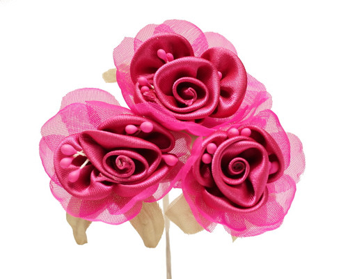 """2"""" Fuchsia Satin Silk Flowers with Leaves - Pack of 36"""