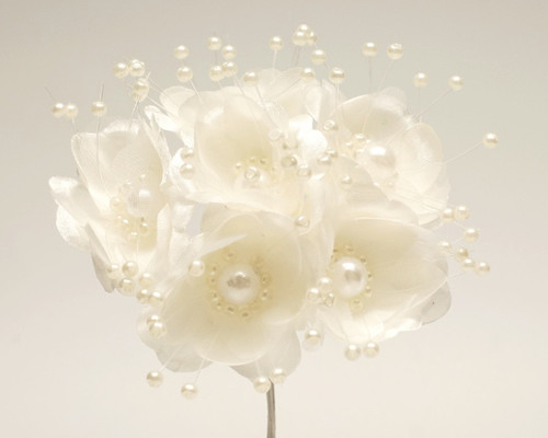 """1.5"""" Ivory Silk Flowers with Pearl - Pack of 72"""