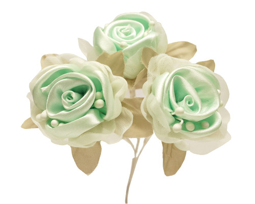 """2"""" Mint Green Satin Silk Flowers with Leaves - Pack of 36"""