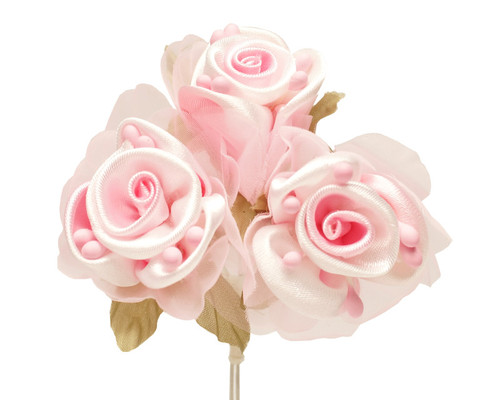 """2"""" Pink Satin Silk Flowers with Leaves - Pack of 36"""