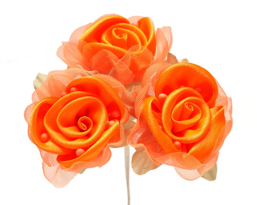 """2"""" Orange Satin Silk Flowers with Leaves - Pack of 36"""