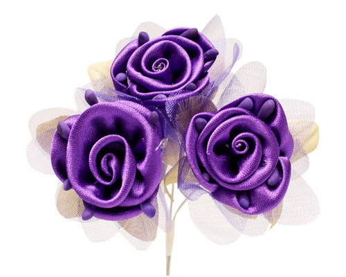 "2"" Purple Satin Silk Flowers with Leaves - Pack of 36"