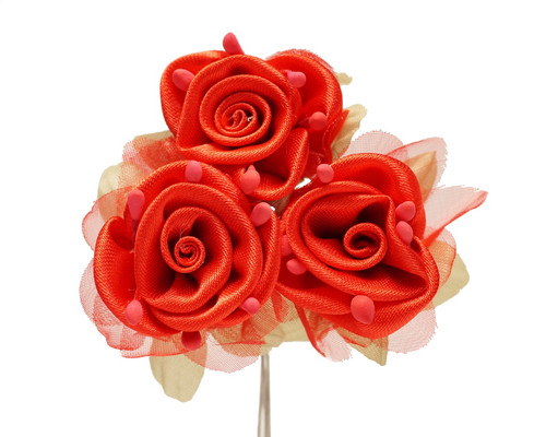 """2"""" Red Satin Silk Flowers with Leaves - Pack of 36"""