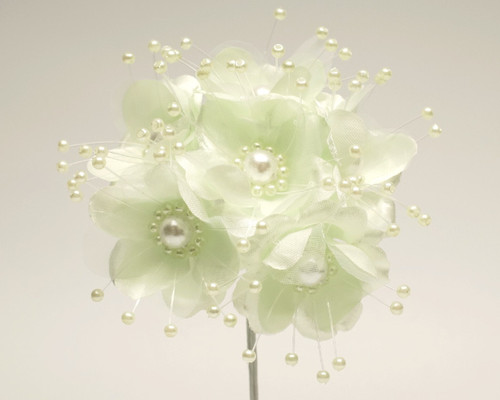 """1.5"""" Mint Green Silk Flowers with Pearl - Pack of 72"""