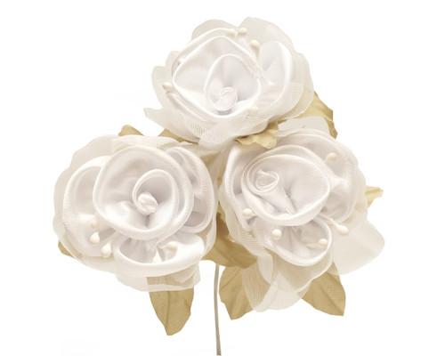 """2"""" White Satin Silk Flowers with Leaves - Pack of 36"""